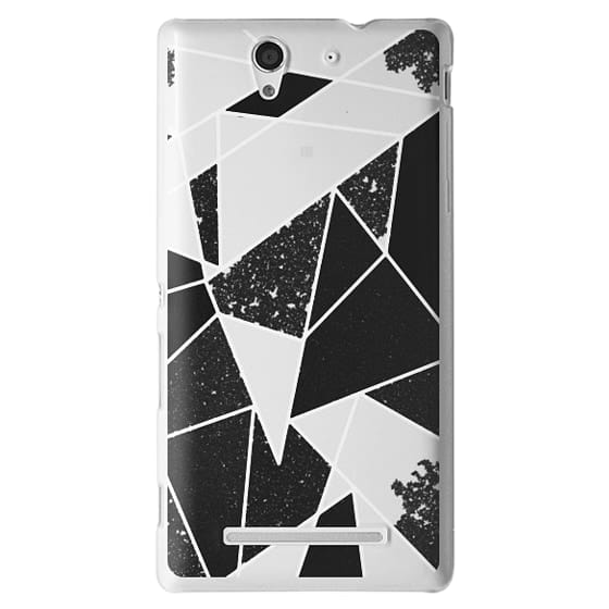Sony C3 Cases - Black and White Rustic Painted Abstract Linear Geometric Triangles Pattern on Transparent Background