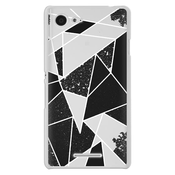 Sony E3 Cases - Black and White Rustic Painted Abstract Linear Geometric Triangles Pattern on Transparent Background