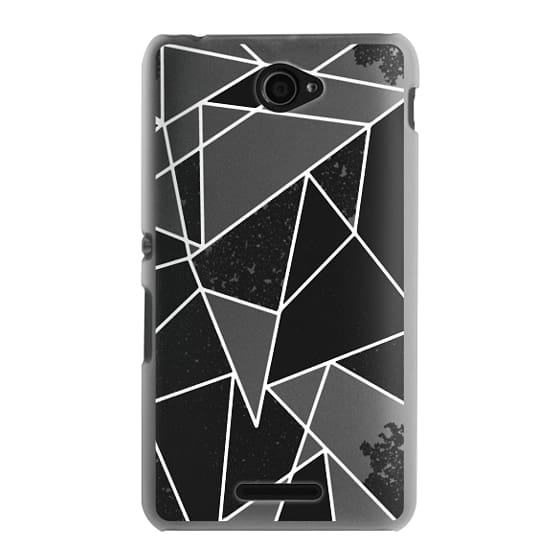 Sony E4 Cases - Black and White Rustic Painted Abstract Linear Geometric Triangles Pattern on Transparent Background