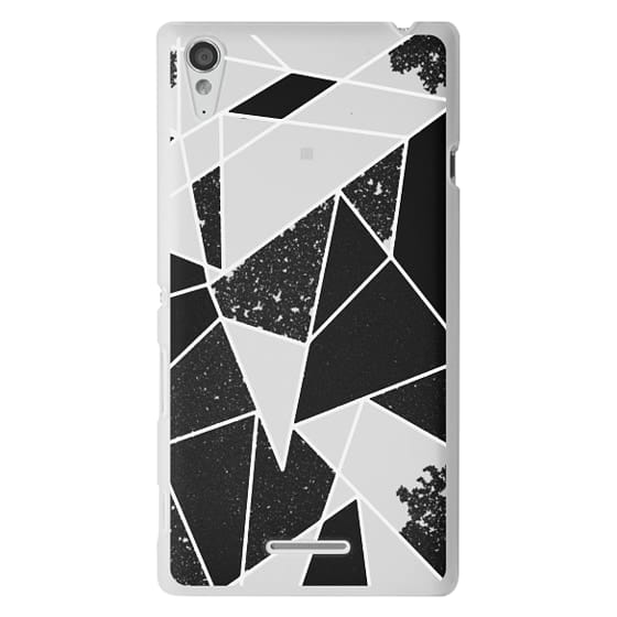 Sony T3 Cases - Black and White Rustic Painted Abstract Linear Geometric Triangles Pattern on Transparent Background