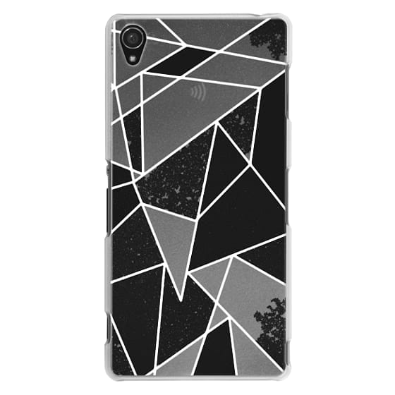 Sony Z3 Cases - Black and White Rustic Painted Abstract Linear Geometric Triangles Pattern on Transparent Background