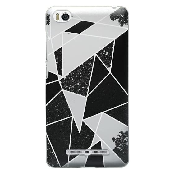 Xiaomi 4i Cases - Black and White Rustic Painted Abstract Linear Geometric Triangles Pattern on Transparent Background