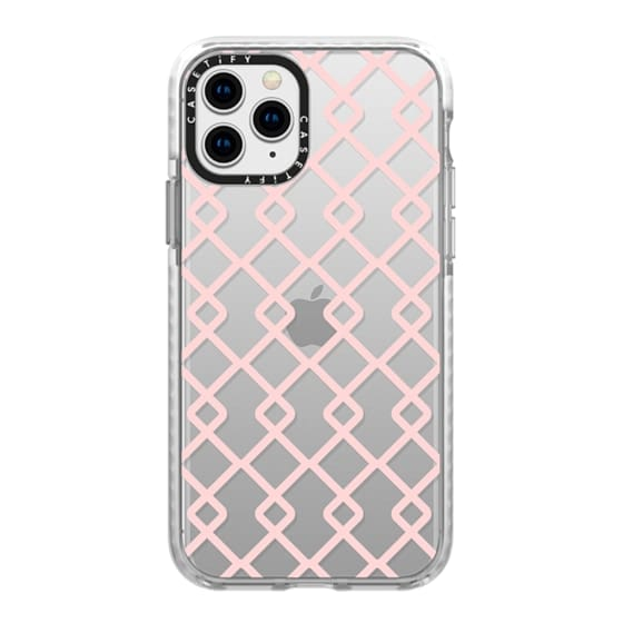 iPhone 11 Pro Cases - Baby Pink Criss Cross Geometric Squares Pattern on Transparent Background