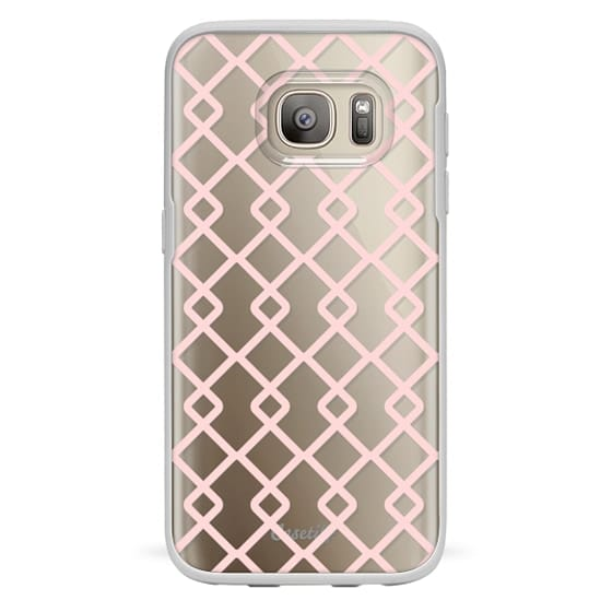 Samsung Galaxy S7 Cases - Baby Pink Criss Cross Geometric Squares Pattern on Transparent Background