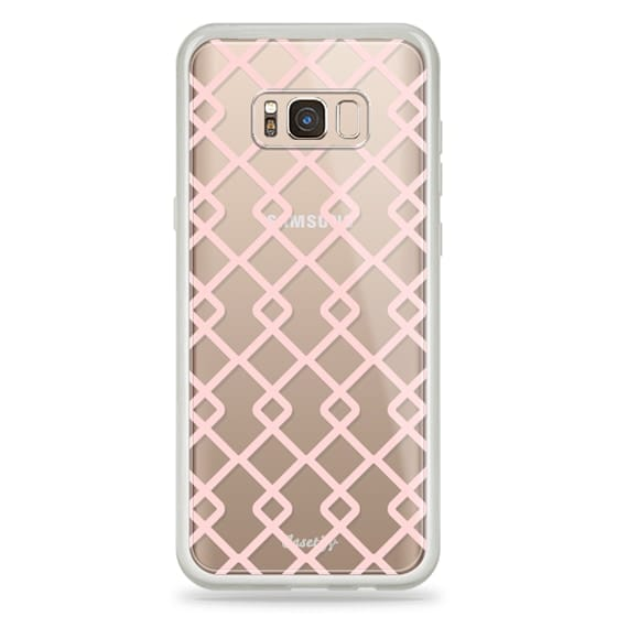 Samsung Galaxy S8 Plus Cases - Baby Pink Criss Cross Geometric Squares Pattern on Transparent Background