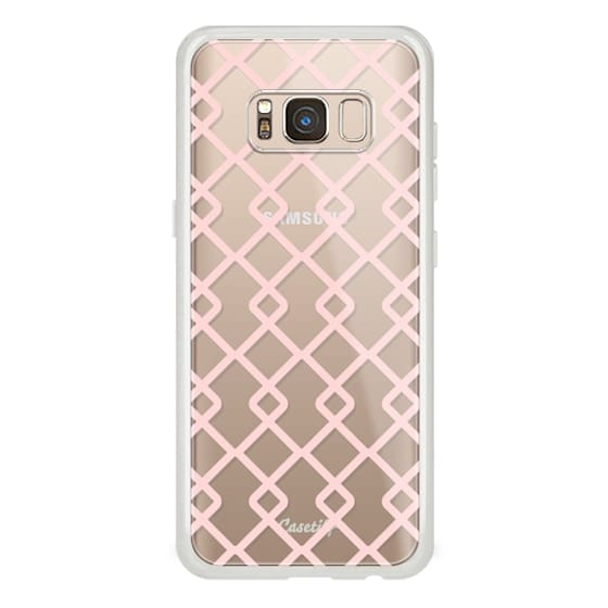 Samsung Galaxy S8 Cases - Baby Pink Criss Cross Geometric Squares Pattern on Transparent Background