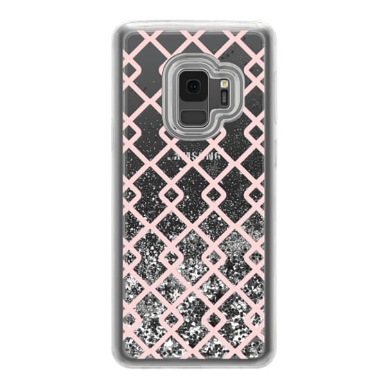 Samsung Galaxy S9 Cases - Baby Pink Criss Cross Geometric Squares Pattern on Transparent Background