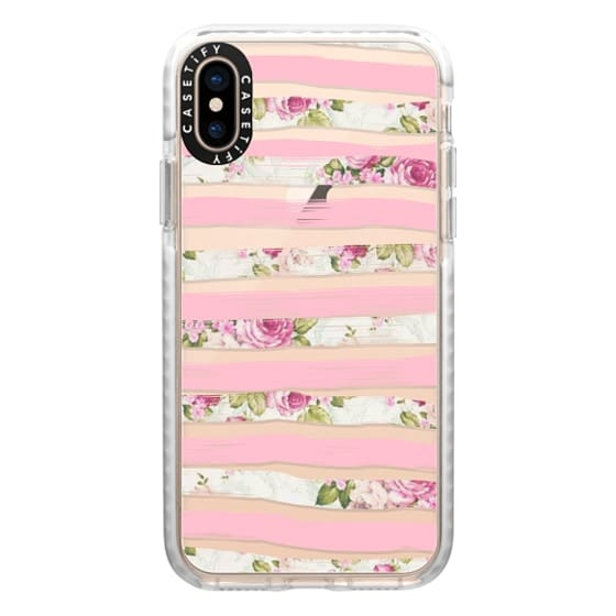 iPhone XS Cases - Elegant Pretty Pink Vintage Floral Print and Solid Pink Brushed Stripes
