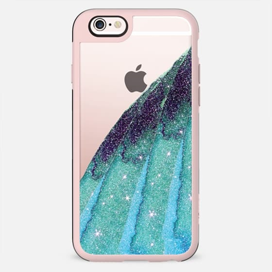 Aqua Blue and Black Sparkly Girly Faux Glitter Watercolor on Transparent Background - New Standard Case