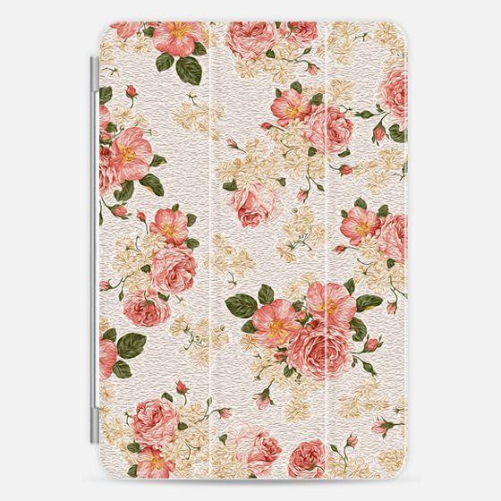 Pink Vintage Painted Roses Flowers Pattern -