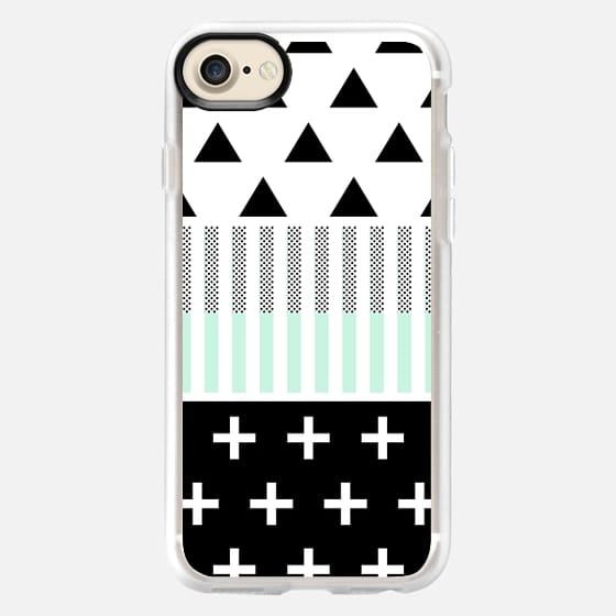 Black and Teal Geometric Shapes; Triangles, Stripes, Polka Dots, & Crosses on White -