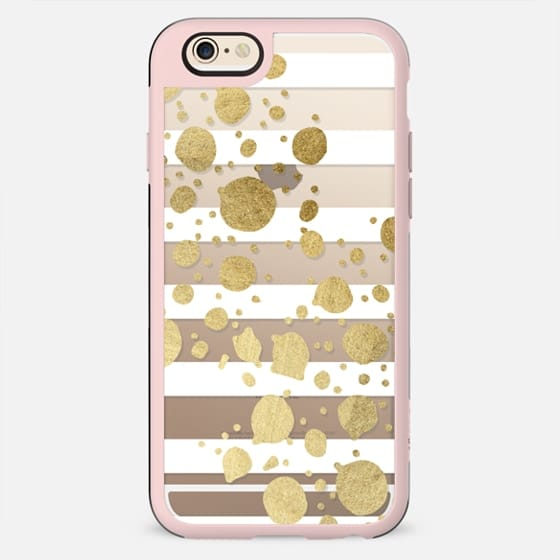 Elegant Faux Gold Paint Splatters and White Stripes- Transparent - New Standard Case
