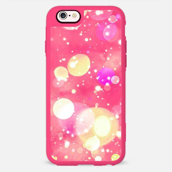 Girly Pink Sparkly Vintage Bubbles Bokeh Pattern -