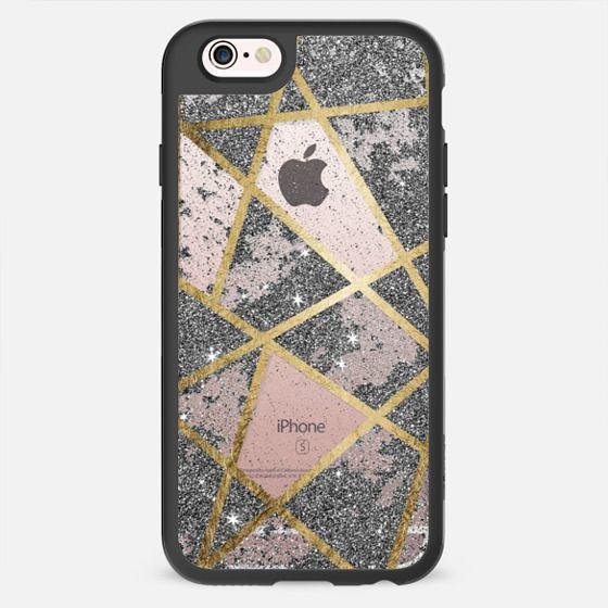 Elegant Printed Faux Gold & Silver Rustic Glitter Geometric Triangles Pattern- Transparent -