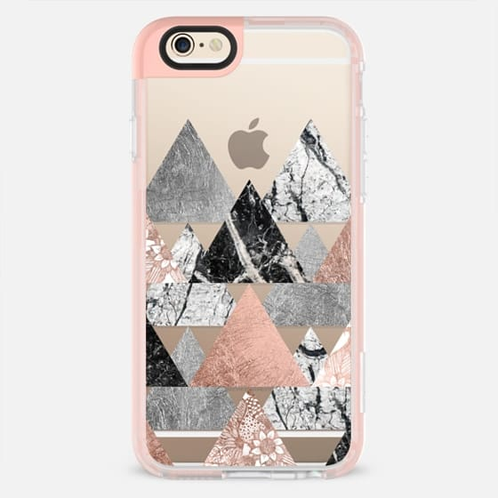 Modern Elegant Floral Faux Rose Gold and Silver and Black and White Marble Geometric Triangles- Transparent - New Standard Pastel Case