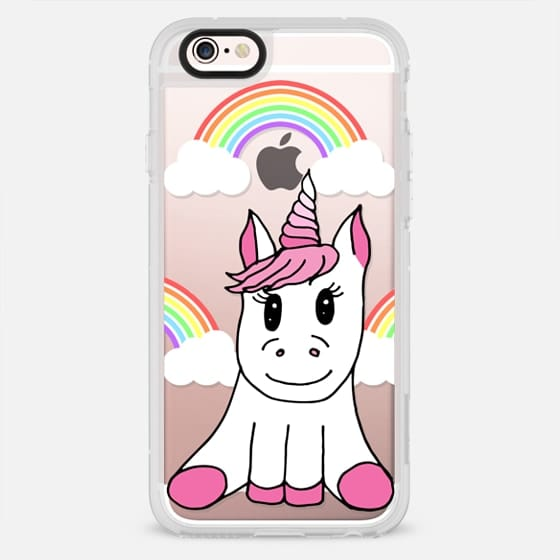 Cute Pink Girly Unicorn Illustration and Rainbows with Clouds - New Standard Case
