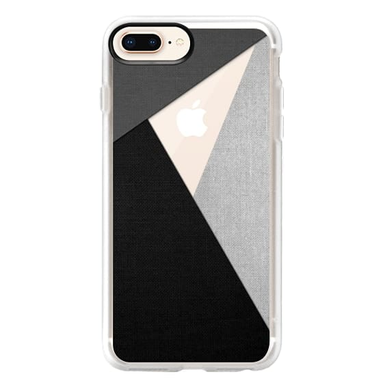iPhone 8 Plus Cases - Black, White, and Grey Tri-Cut Fabric