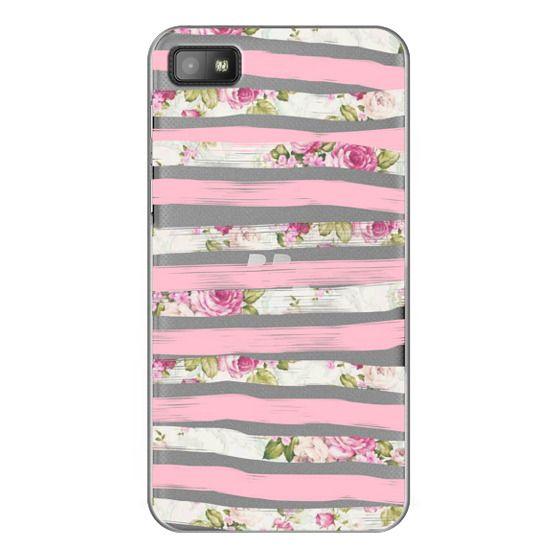 Blackberry Z10 Cases - Elegant Pretty Pink Vintage Floral Print and Solid Pink Brushed Stripes