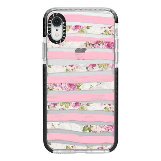 iPhone XR Cases - Elegant Pretty Pink Vintage Floral Print and Solid Pink Brushed Stripes