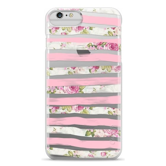iPhone 6 Plus Cases - Elegant Pretty Pink Vintage Floral Print and Solid Pink Brushed Stripes