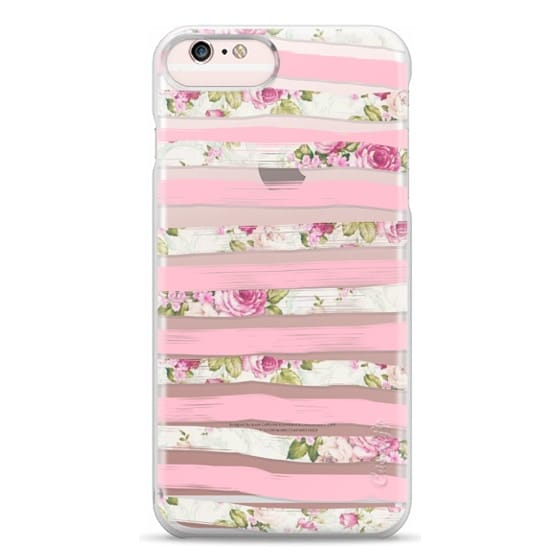 iPhone 6s Plus Cases - Elegant Pretty Pink Vintage Floral Print and Solid Pink Brushed Stripes
