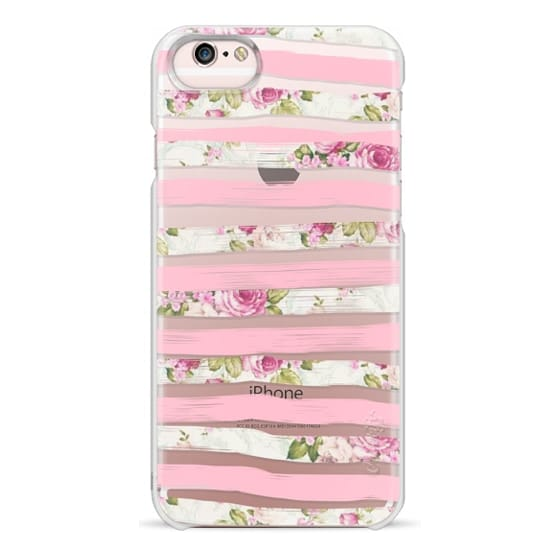 iPhone 6s Cases - Elegant Pretty Pink Vintage Floral Print and Solid Pink Brushed Stripes