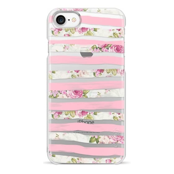 iPhone 7 Cases - Elegant Pretty Pink Vintage Floral Print and Solid Pink Brushed Stripes