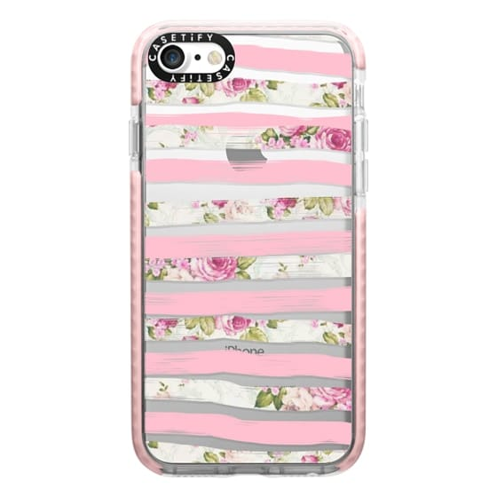 iPhone 7 Cases - Elegant Pretty Pink Vintage Floral Print and Solid Pink Brushed Stripes