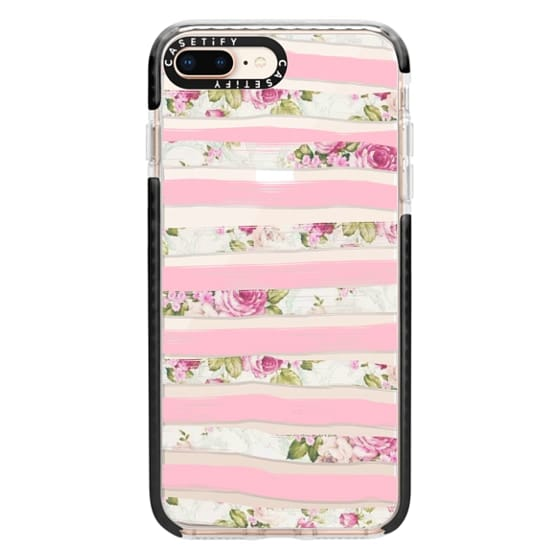 iPhone 8 Plus Cases - Elegant Pretty Pink Vintage Floral Print and Solid Pink Brushed Stripes