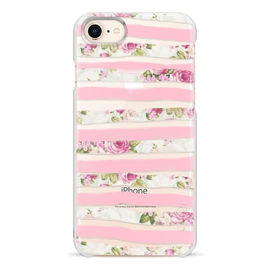 iPhone 8 Cases - Elegant Pretty Pink Vintage Floral Print and Solid Pink Brushed Stripes