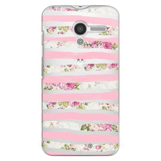 Moto X Cases - Elegant Pretty Pink Vintage Floral Print and Solid Pink Brushed Stripes