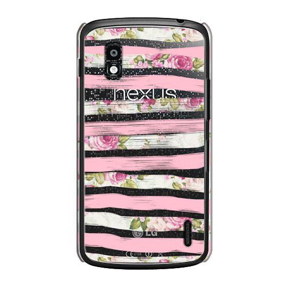 Nexus 4 Cases - Elegant Pretty Pink Vintage Floral Print and Solid Pink Brushed Stripes