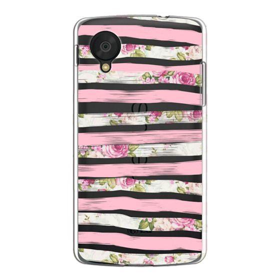 Nexus 5 Cases - Elegant Pretty Pink Vintage Floral Print and Solid Pink Brushed Stripes