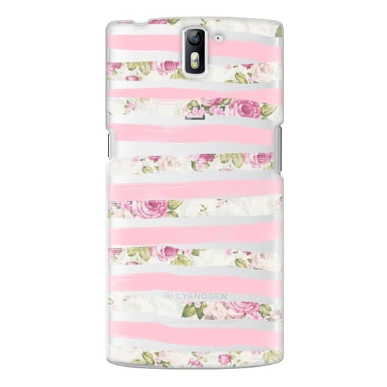 One Plus One Cases - Elegant Pretty Pink Vintage Floral Print and Solid Pink Brushed Stripes
