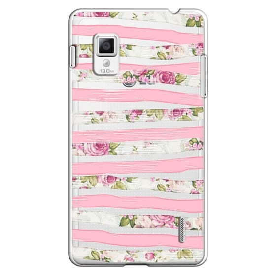 Optimus G Cases - Elegant Pretty Pink Vintage Floral Print and Solid Pink Brushed Stripes