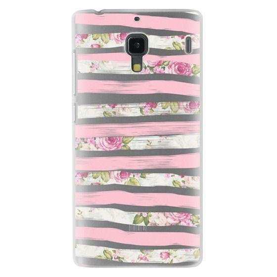 Redmi 1s Cases - Elegant Pretty Pink Vintage Floral Print and Solid Pink Brushed Stripes