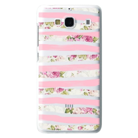Redmi 2 Cases - Elegant Pretty Pink Vintage Floral Print and Solid Pink Brushed Stripes