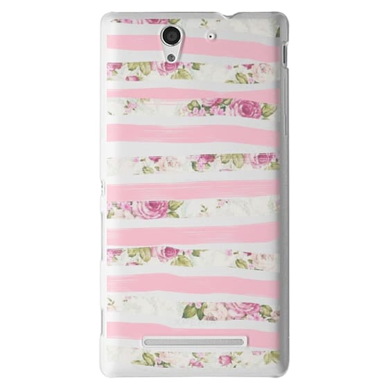 Sony C3 Cases - Elegant Pretty Pink Vintage Floral Print and Solid Pink Brushed Stripes