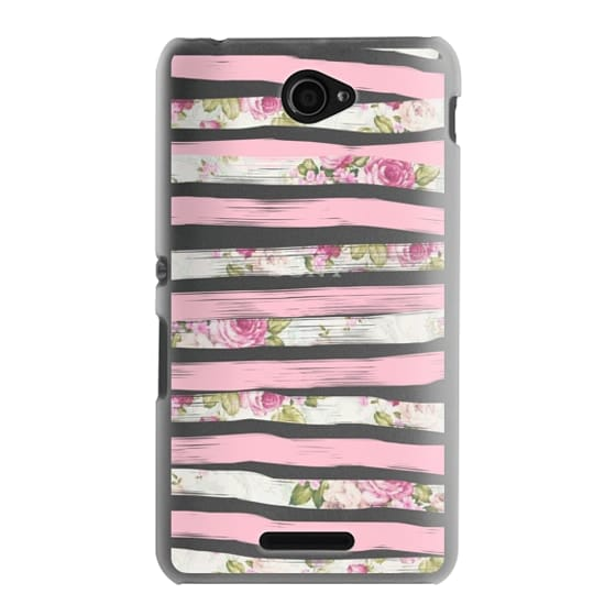 Sony E4 Cases - Elegant Pretty Pink Vintage Floral Print and Solid Pink Brushed Stripes