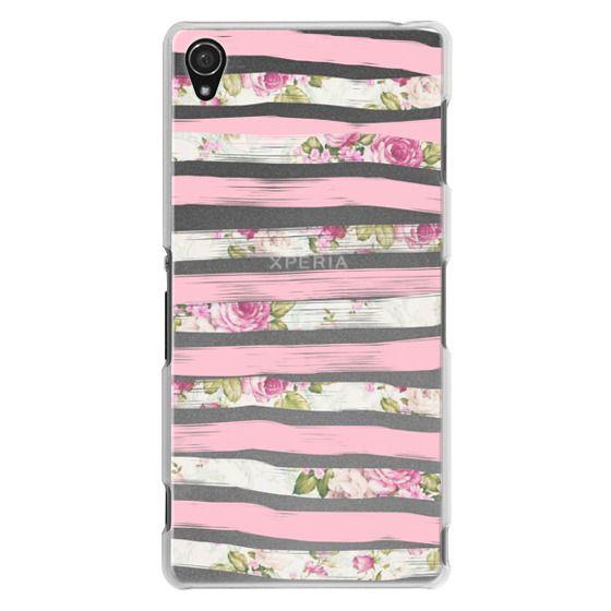 Sony Z3 Cases - Elegant Pretty Pink Vintage Floral Print and Solid Pink Brushed Stripes