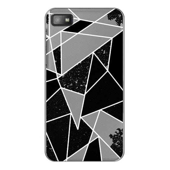 Blackberry Z10 Cases - Black and White Rustic Painted Abstract Linear Geometric Triangles Pattern on Transparent Background