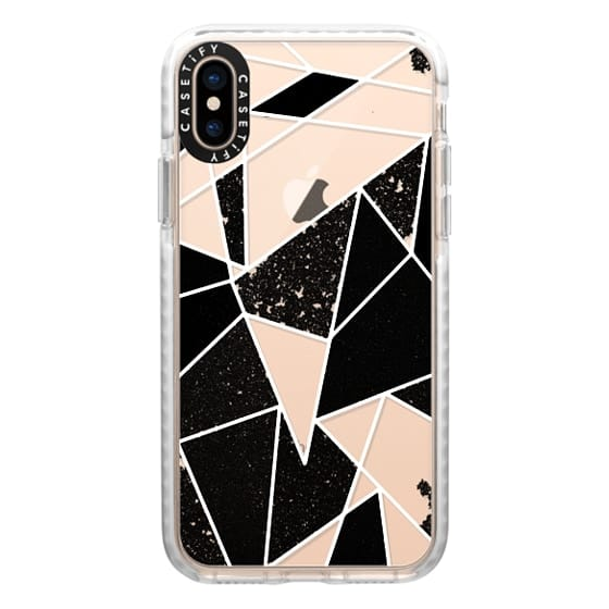 iPhone XS Cases - Black and White Rustic Painted Abstract Linear Geometric Triangles Pattern on Transparent Background