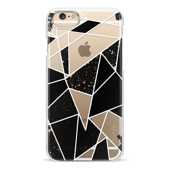 iPhone 6 Cases - Black and White Rustic Painted Abstract Linear Geometric Triangles Pattern on Transparent Background