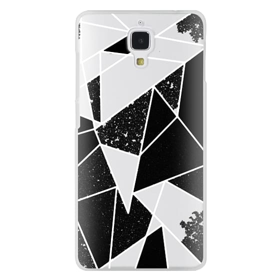 Xiaomi 4 Cases - Black and White Rustic Painted Abstract Linear Geometric Triangles Pattern on Transparent Background