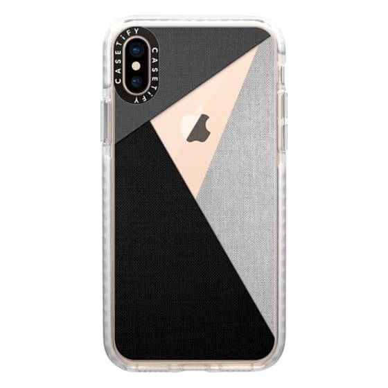 iPhone XS Cases - Black, White, and Grey Tri-Cut Fabric