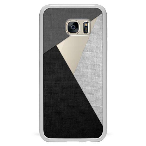 Samsung Galaxy S7 Edge Cases - Black, White, and Grey Tri-Cut Fabric