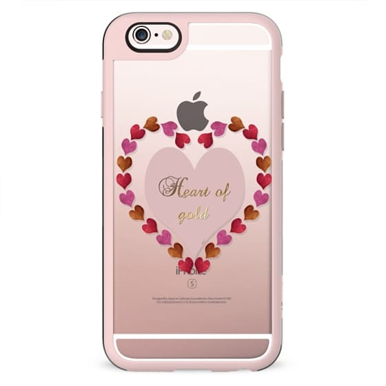 Heart of Gold in metal and glitter transparent case