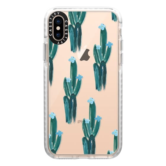 iPhone XS Cases - Blue Floral Cacti