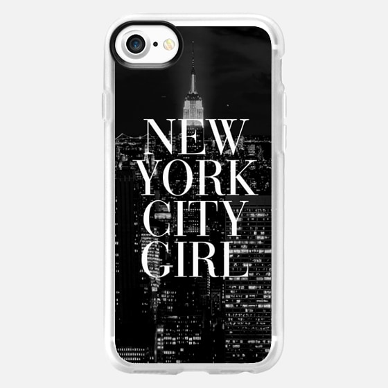 New York City Girl Black and White Skyline iPhone 6 Case - Wallet Case