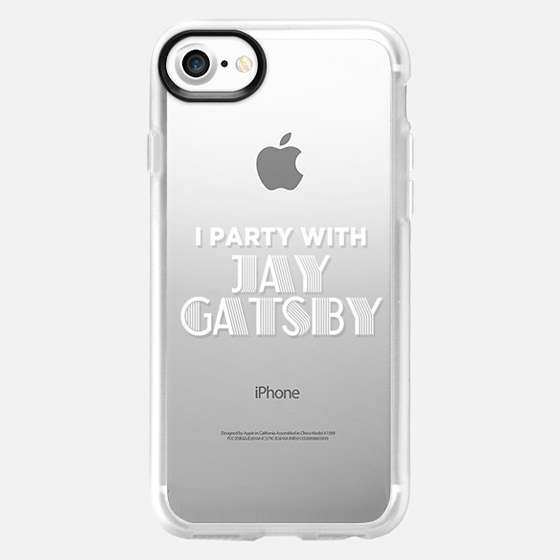 I Party with Jay Gatsby White Typography Print - Wallet Case